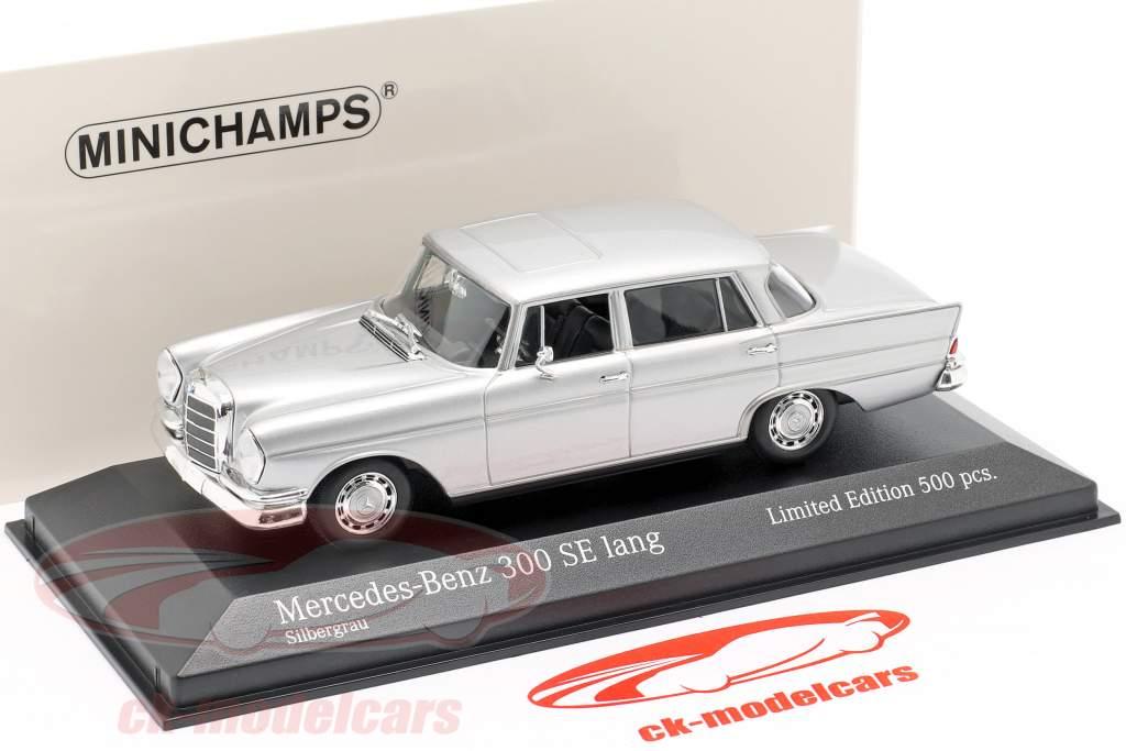 Mercedes-Benz 300 SE lang (W112) Heckflosse Byggeår 1963 sølv 1:43 Minichamps