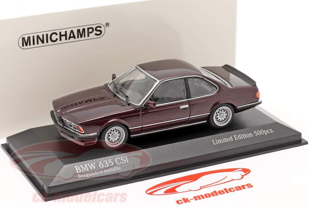 BMW 635 CSI (E24) 建设年份 1982 黑暗 红 金属的 1:43 Minichamps