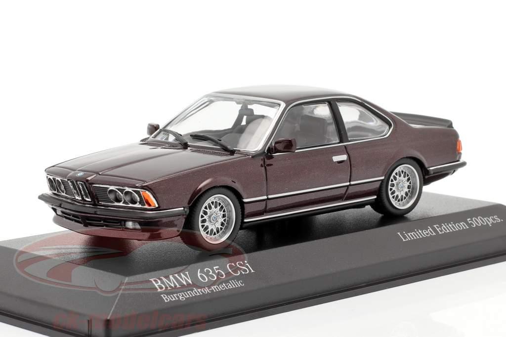 BMW 635 CSI (E24) Anno di costruzione 1982 buio rosso metallico 1:43 Minichamps