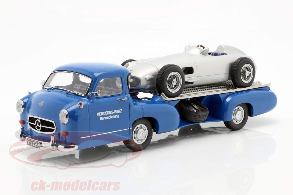 Set: Mercedes-Benz Raça Carro Transportador Azul maravilha Com Mercedes-Benz W196 1:18 iScale