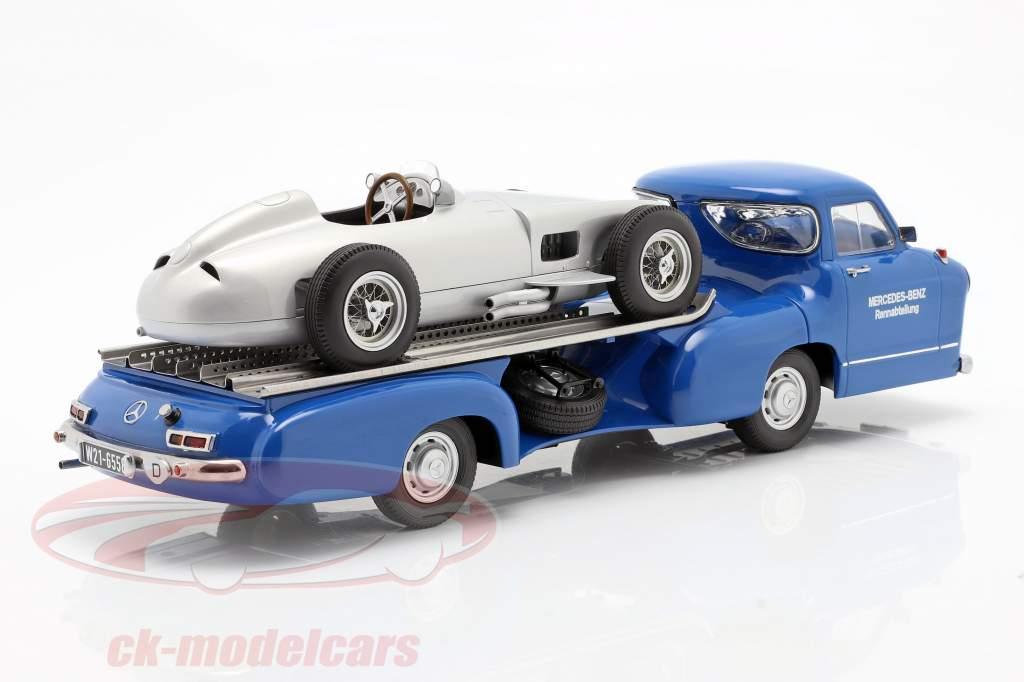 Set: Mercedes-Benz Course Voiture Transporteur Bleu merveille Avec Mercedes-Benz W196 1:18 iScale