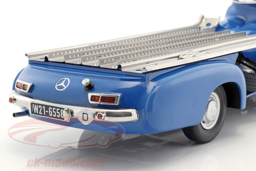 Set: Mercedes-Benz Carrera Coche Transportador Azul preguntarse Con Mercedes-Benz W196 1:18 iScale