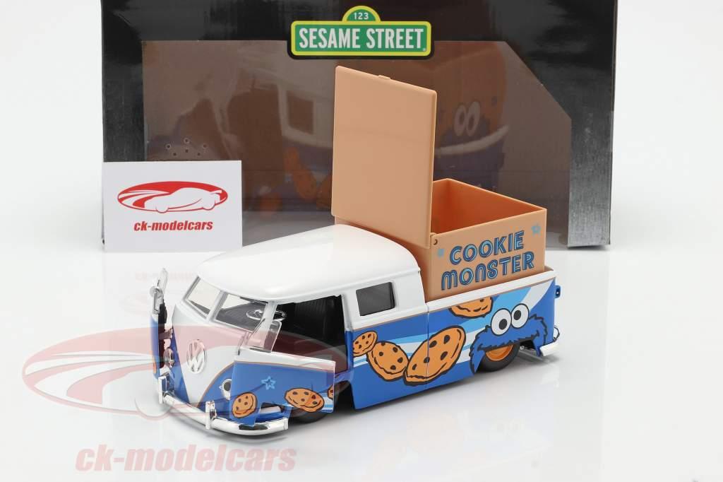 Volkswagen VW Bus PickUp 1963 with Sesame Street figure Cookie monster 1:24 Jada Toys