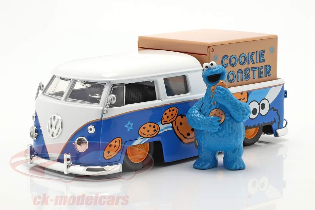 Volkswagen VW Bus PickUp 1963 Med Sesame Street figur Cookie uhyre 1:24 Jada Toys