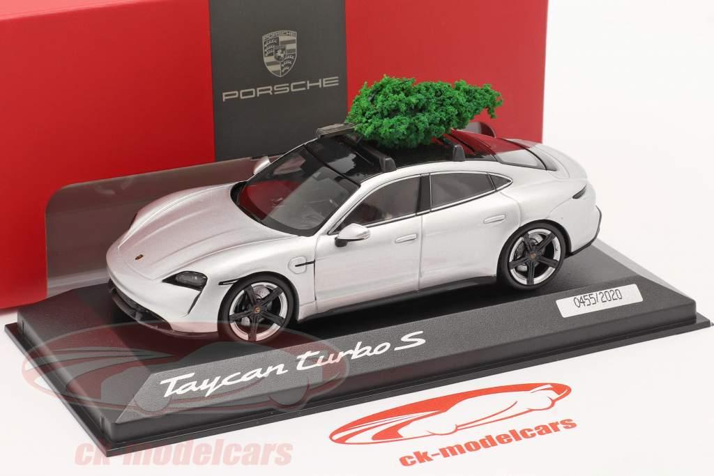 Porsche Taycan Turbo S dolomiet zilver Met kerstboom 1:43 Minichamps