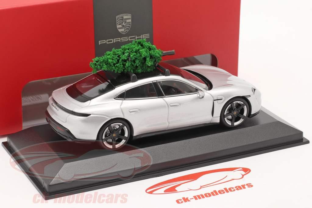 Porsche Taycan Turbo S argento dolomite Con albero di Natale 1:43 Minichamps