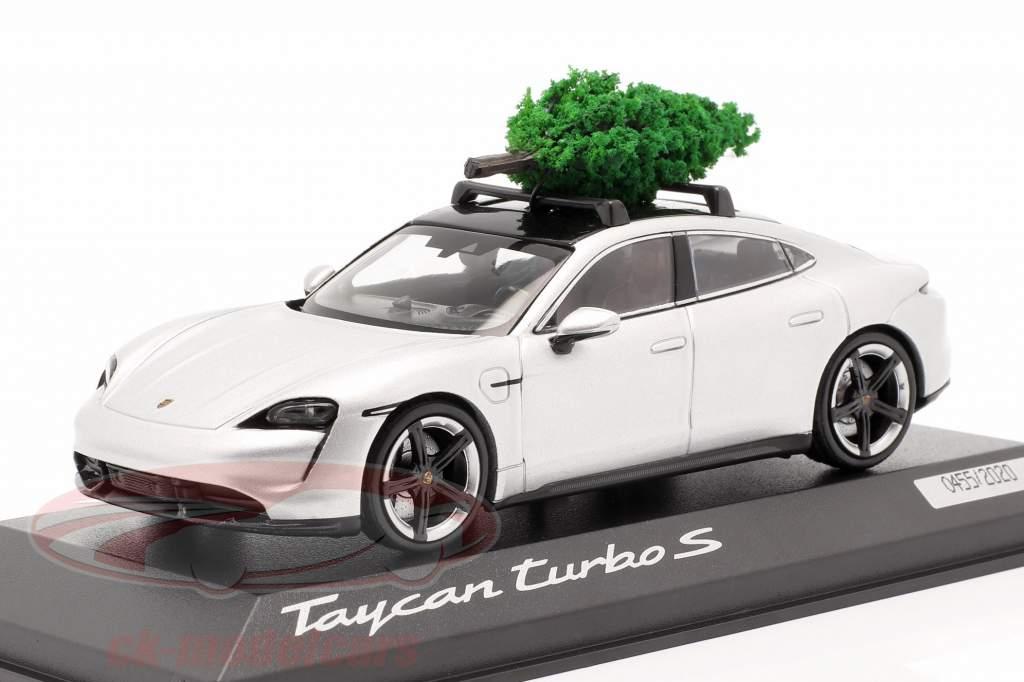 Porsche Taycan Turbo S argent dolomite Avec Sapin de Noël 1:43 Minichamps