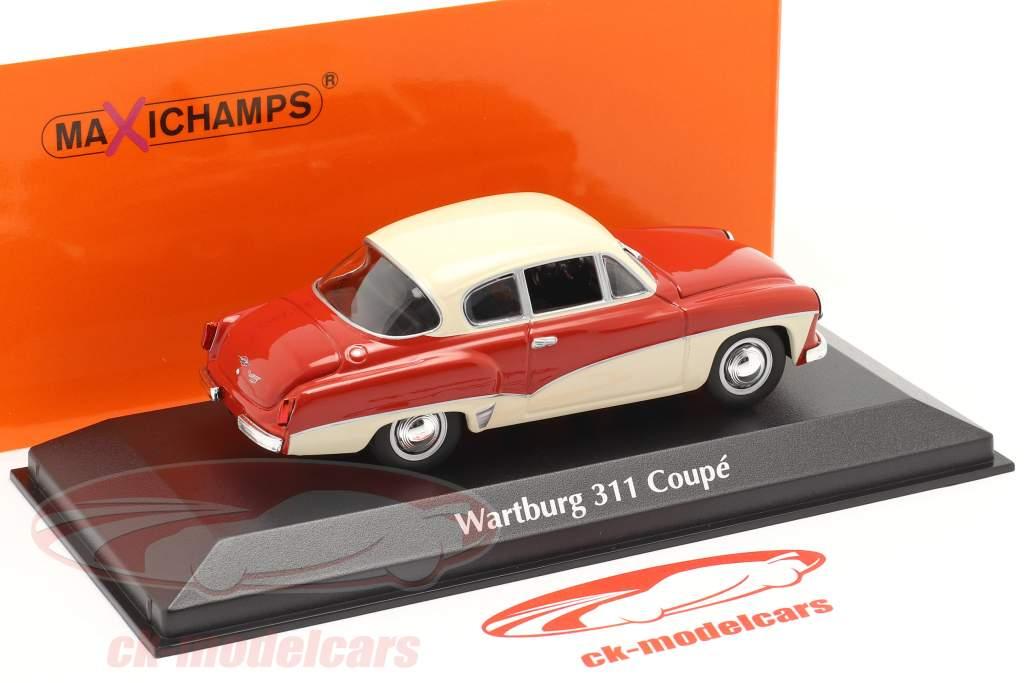Wartburg 311 Coupe año 1958 rojo / blanco 1:43 MInichamps