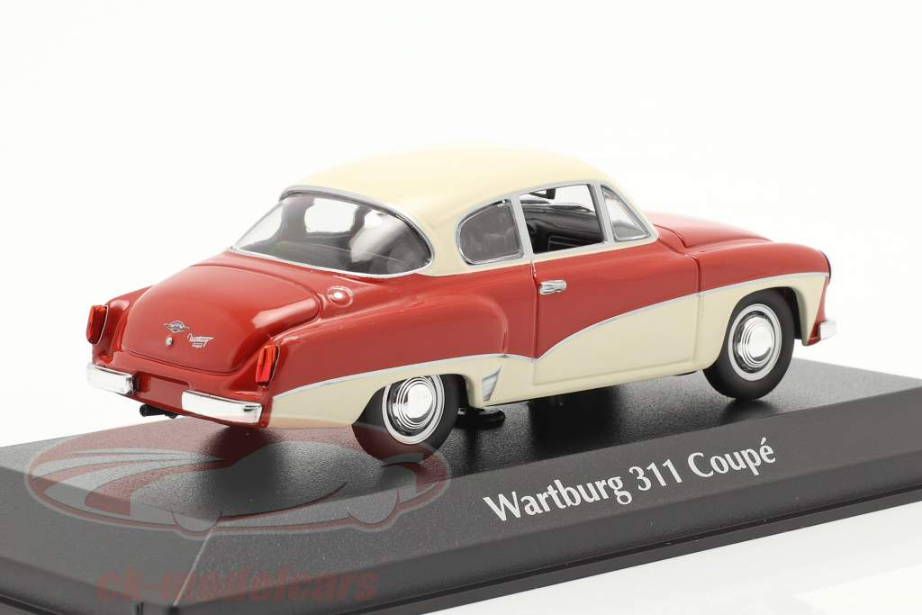 Wartburg 311 Coupe jaar 1958 rood / wit 1:43 MInichamps