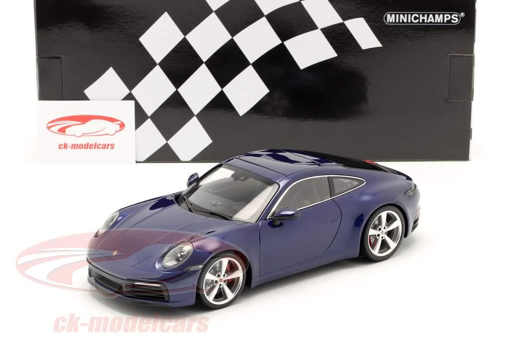 Porsche 911 (992) Carrera 4S Año de construcción 2019 genciana azul 1:18 Minichamps