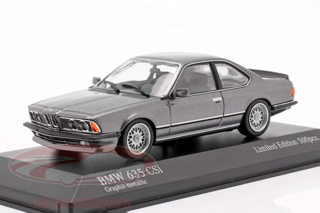 BMW 635 CSI (E24) Año de construcción 1982 grafito gris metálico 1:43 Minichamps