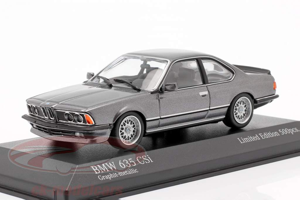 BMW 635 CSI (E24) Bouwjaar 1982 grafiet Grijs metalen 1:43 Minichamps