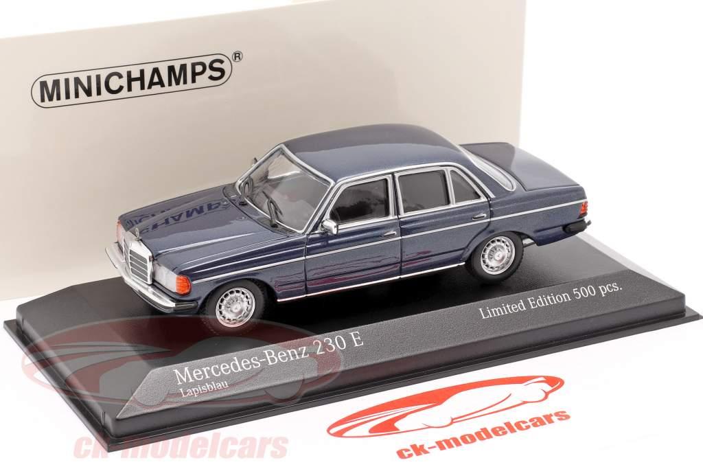 Mercedes-Benz 230E (W123) Ano de construção 1982 azul metálico 1:43 Minichamps
