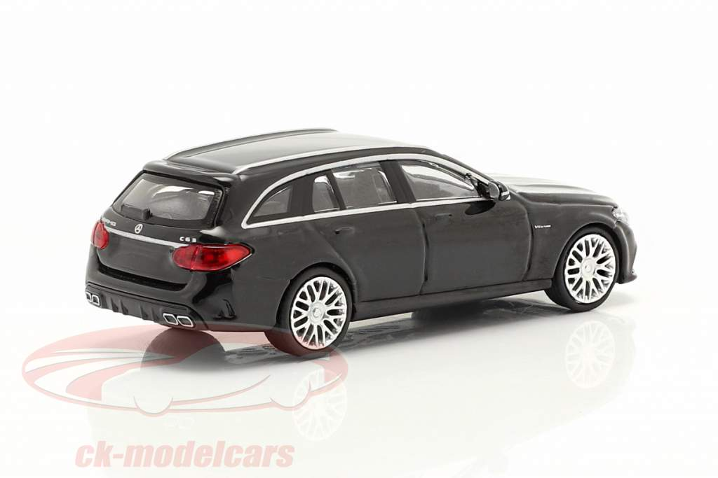 Mercedes-Benz AMG C63 ano 2019 Preto metálico 1:87 Minichamps