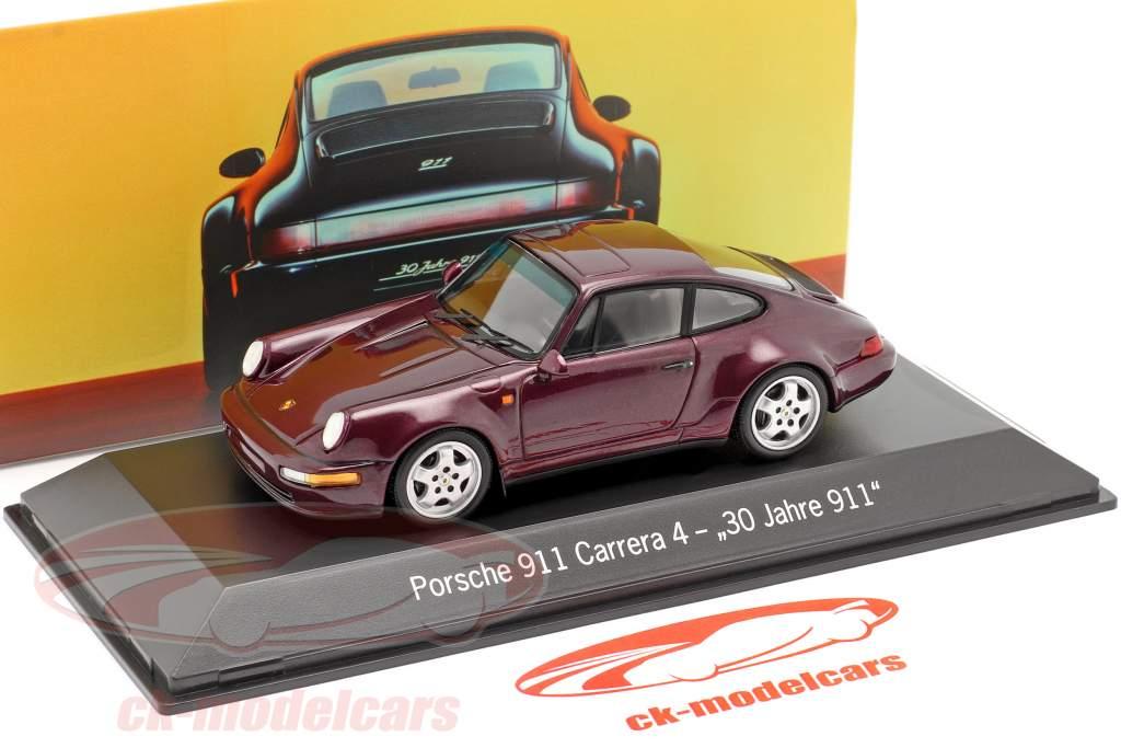 Porsche 911 Carrera 4 30 Ans 911 vin rouge métallique 1:43 Spark
