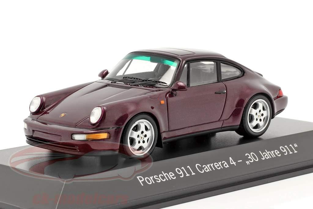 Porsche 911 Carrera 4 30 Jaar 911 wijnrood metalen 1:43 Spark