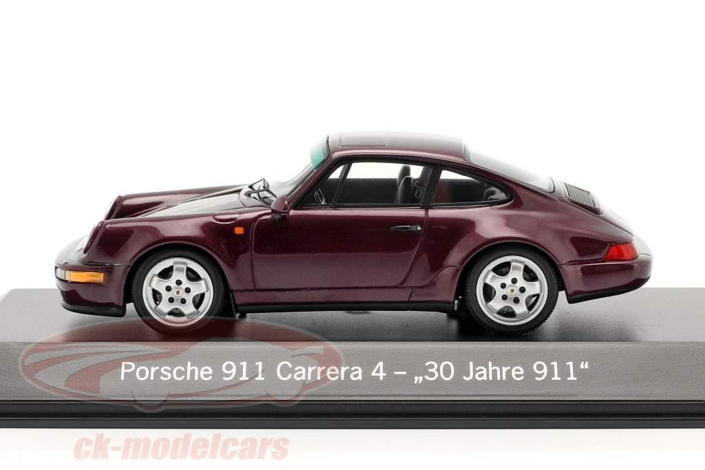 Porsche 911 Carrera 4 30 Años 911 rojo vino metálico 1:43 Spark