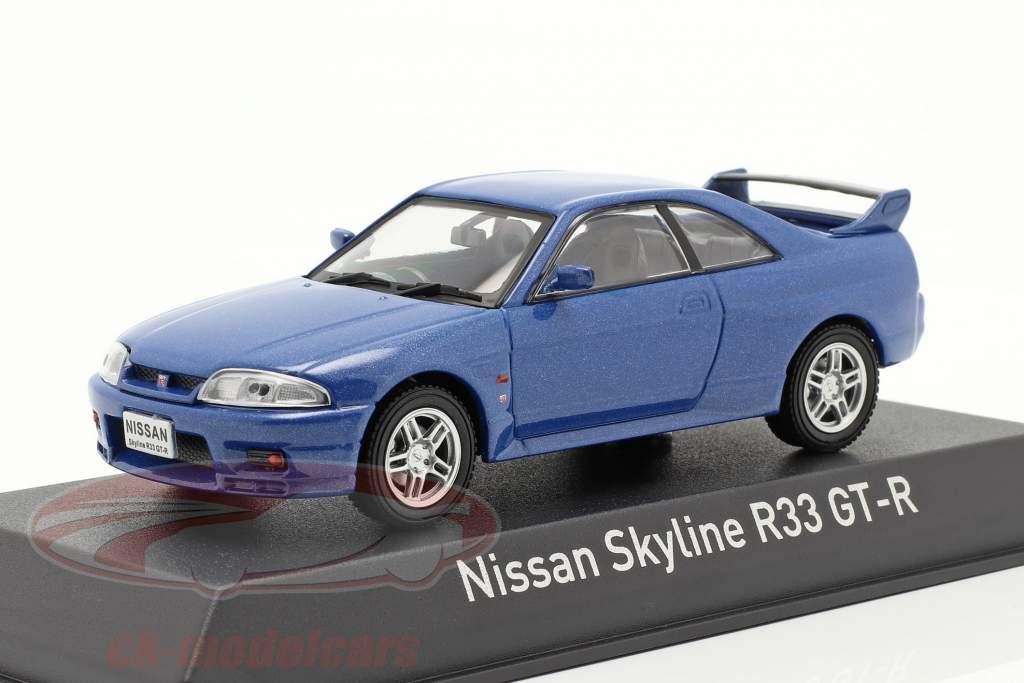 Nissan Skyline R33 GT-R år 1995 blå metallisk 1:43 Norev