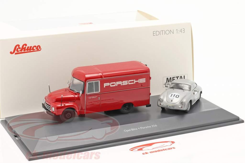 2-Car Set Opel Blitz 1,75t rood en Porsche 356 #110 zilver 1:43 Schuco
