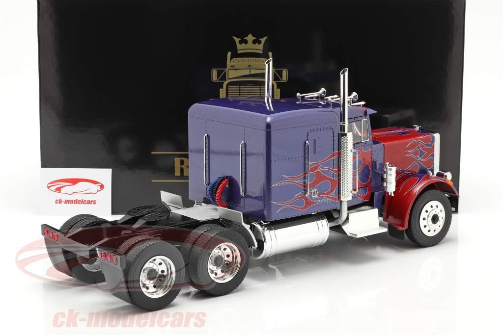 Peterbilt 359 Bull Nose Caminhão 1967 azul / vermelho 1:18 Road Kings