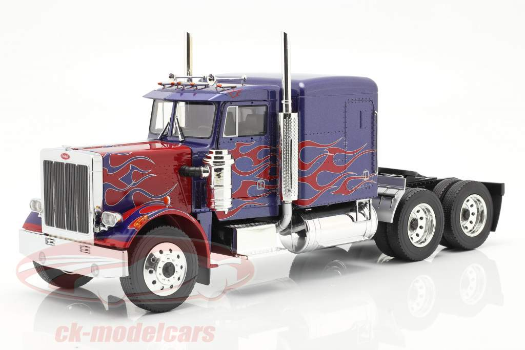 Peterbilt 359 Bull Nose Vrachtauto 1967 blauw / rood 1:18 Road Kings