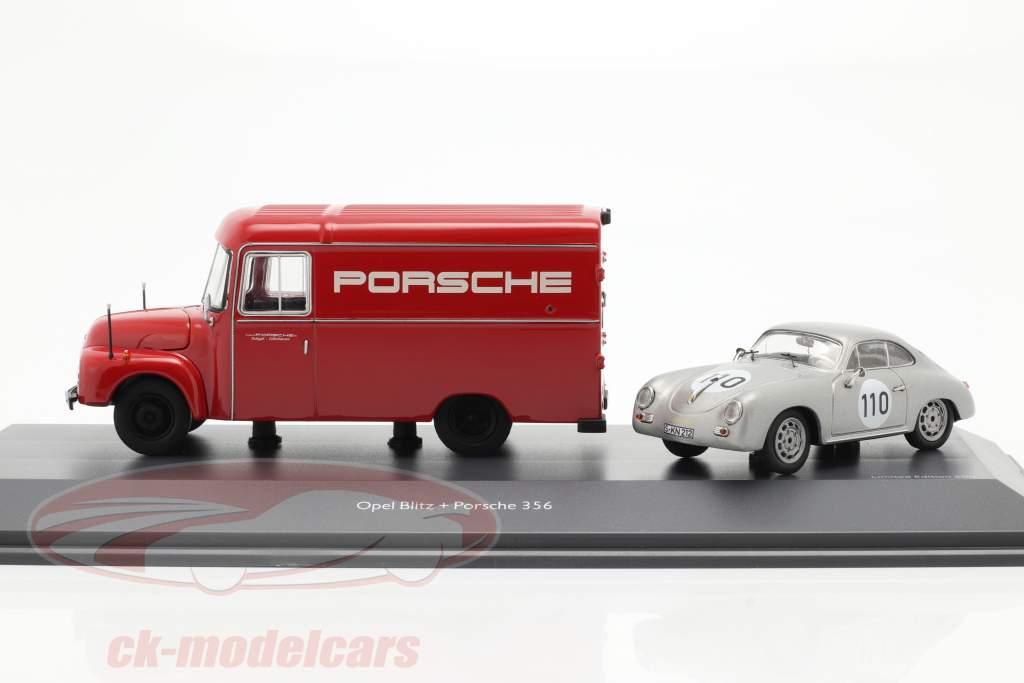 2-Car Set Opel Blitz 1,75t rød og Porsche 356 #110 sølv 1:43 Schuco