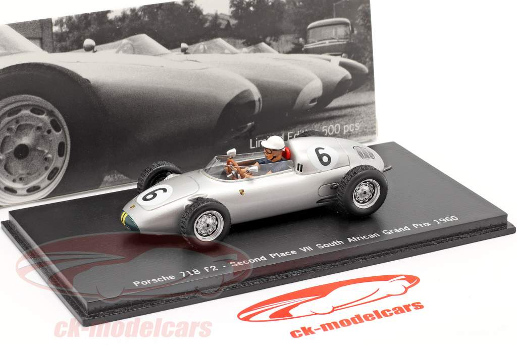 Joakim Bonnier Porsche 718 F2 #6 2. Platz GP Südafrika 1960 1:43 Spark