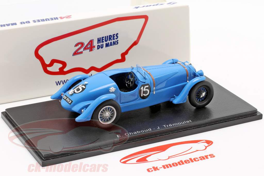 Delahaye 135 CS #15 winnaar 24h LeMans 1938 Chaboud, Tremoulet 1:43 Spark