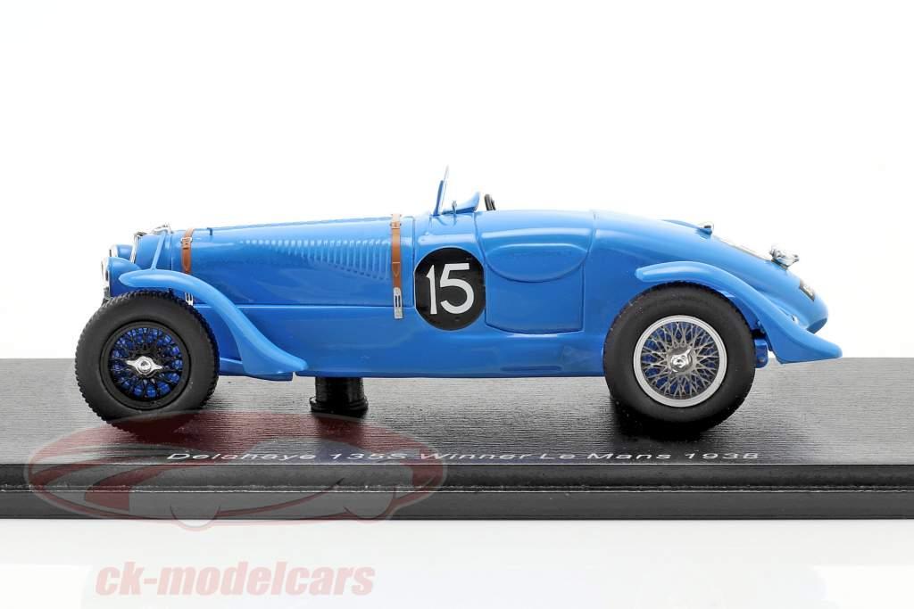 Delahaye 135 CS #15 ganador 24h LeMans 1938 Chaboud, Tremoulet 1:43 Spark