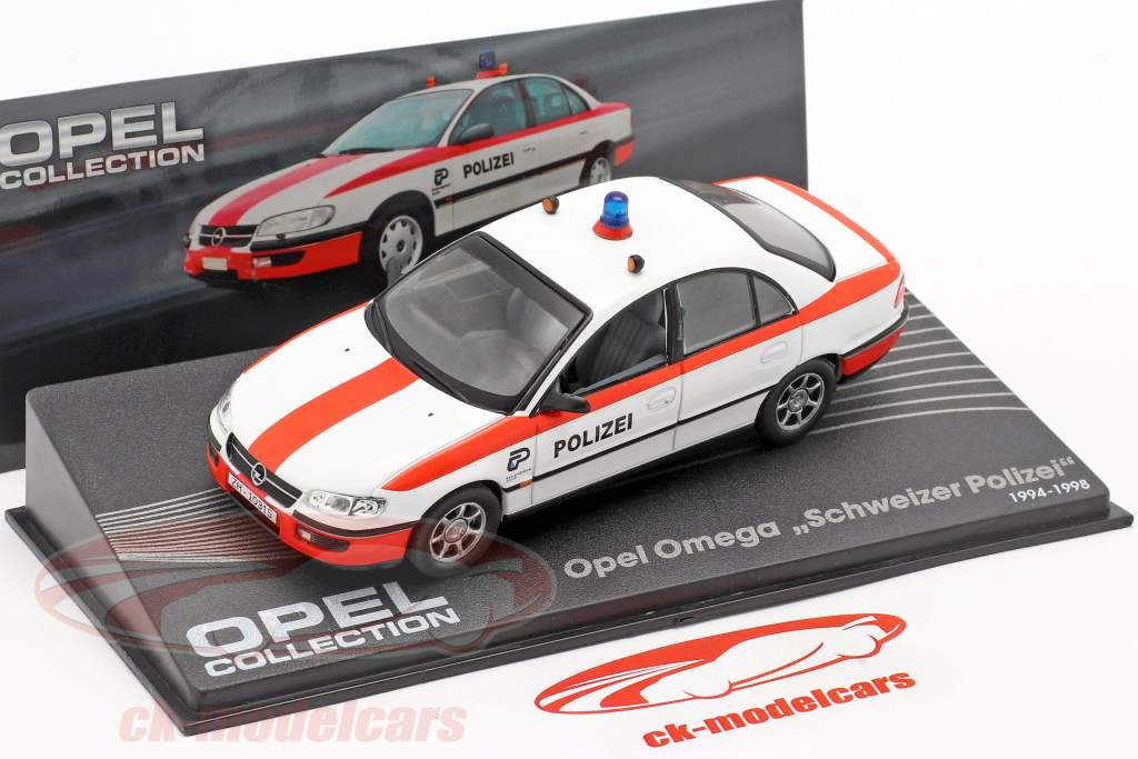 Opel Omega Swiss police year 1994-1998 white / red 1:43 Altaya