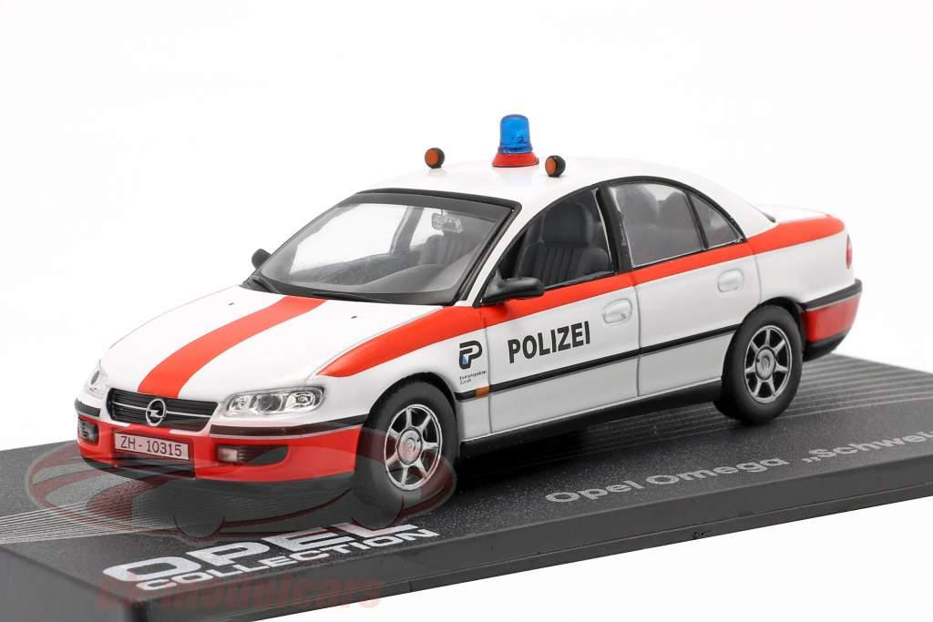 Opel Omega Zwitserse politie Jaar 1994-1998 wit / rood 1:43 Altaya