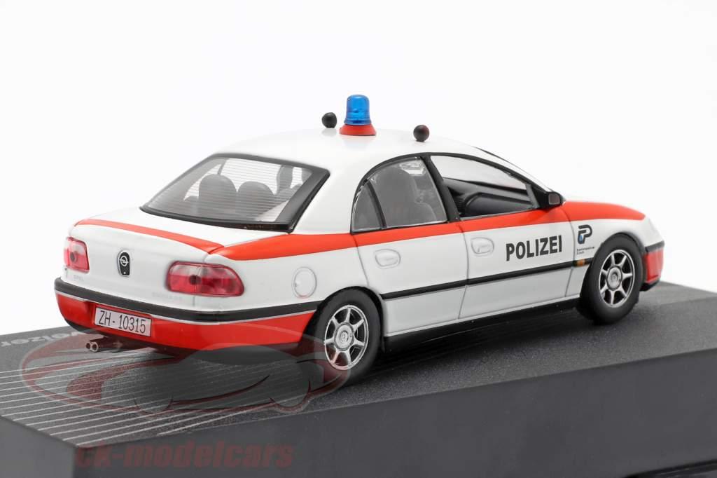 Opel Omega polizia svizzera Anno 1994-1998 bianco / rosso 1:43 Altaya