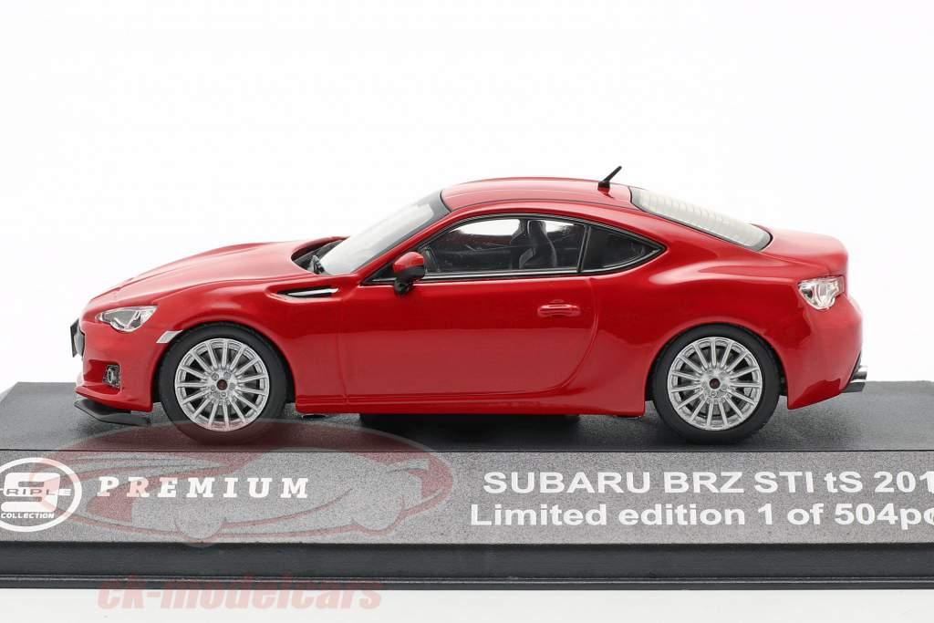 Subaru BRZ STI tS ano 2013 vermelho 1:43 Triple 9