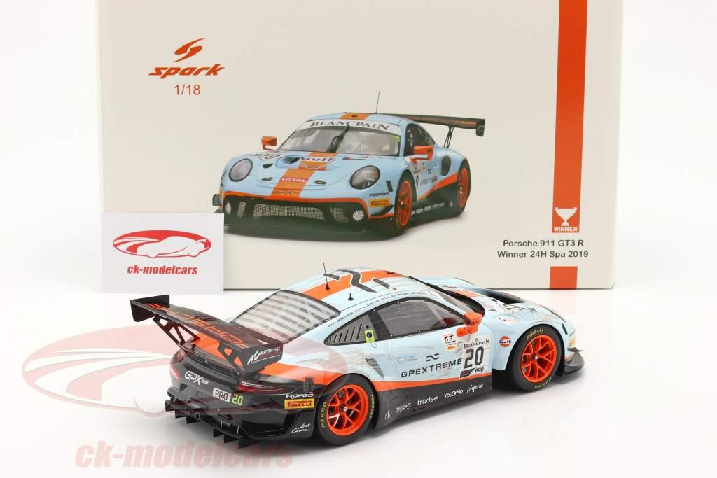 Porsche 911 GT3 R #20 vencedora 24h Spa 2019 Dirty Race Version 1:18 Spark