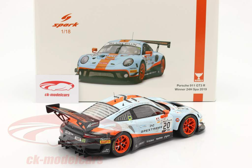 Porsche 911 GT3 R #20 Winner 24h Spa 2019 Dirty Race Version 1:18 Spark