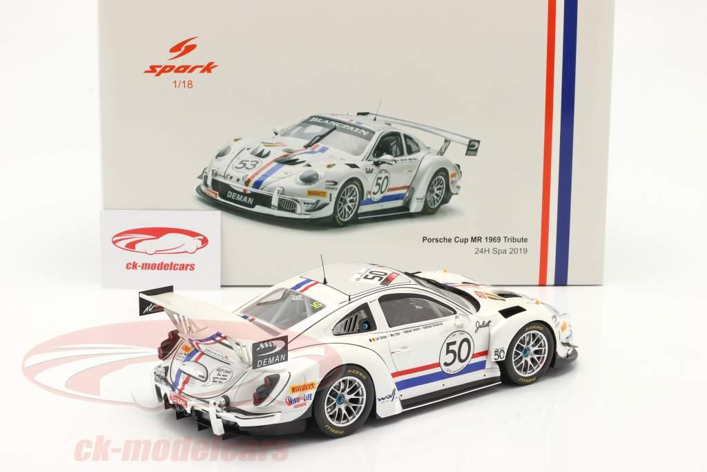 Porsche 911 GT3 Cup MR #50 24h Spa 2019 1969 Tribute 1:18 Spark
