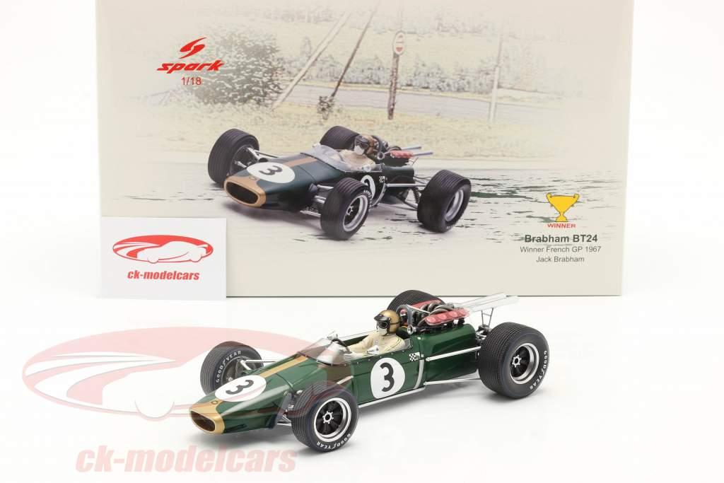 Jack Brabham Brabham BT24 #3 winnaar Frans GP formule 1 1967 1:18 Spark