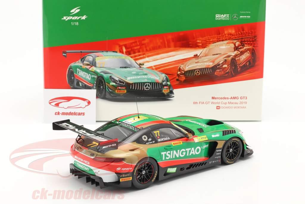 Mercedes-Benz AMG GT3 #77 FIA GT World Cup Macau 2019 Mortara 1:18 Spark