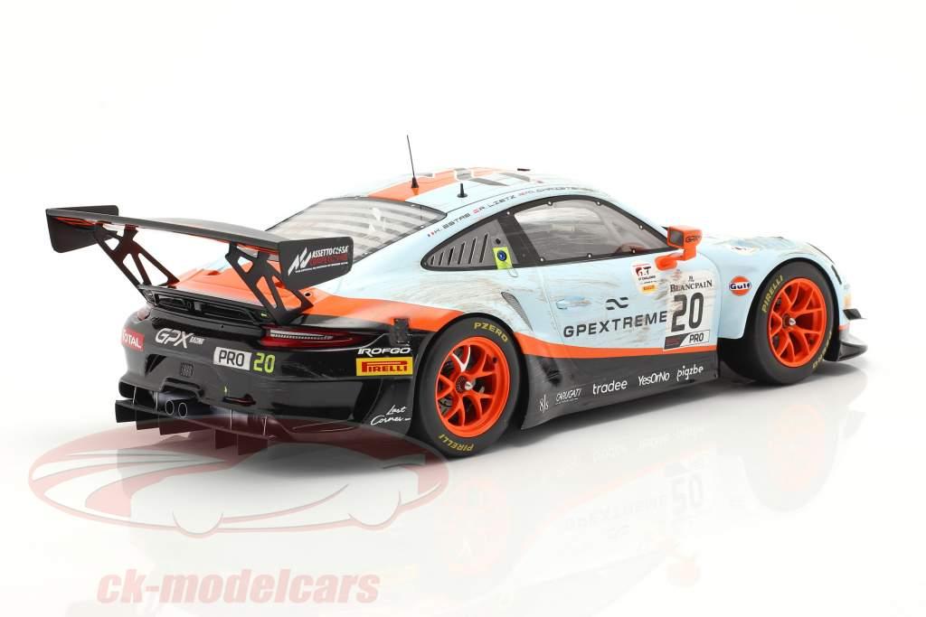 Porsche 911 GT3 R #20 winnaar 24h Spa 2019 Dirty Race Version 1:18 Spark