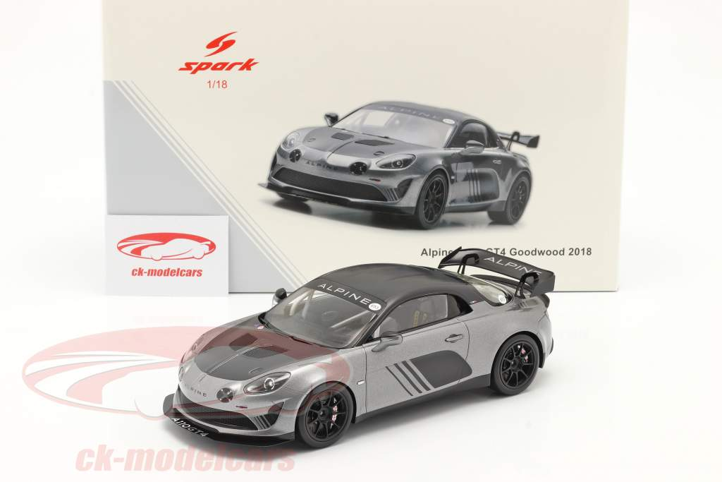 Alpine A110 GT4 Goodwood 2018 argento metallico / nero 1:18 Spark