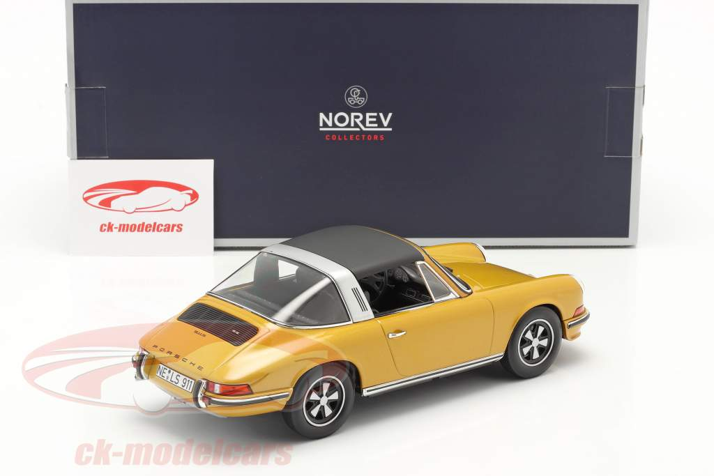 Porsche 911 S Targa Ano de construção 1973 ouro metálico 1:18 Norev