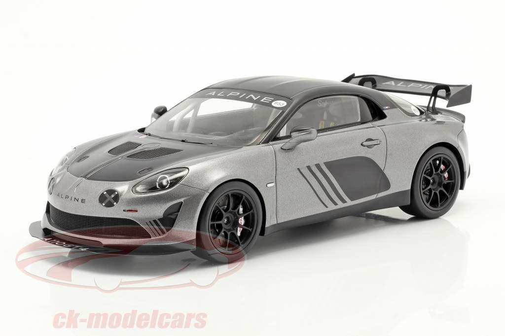 Alpine A110 GT4 Goodwood 2018 sølv metallisk / sort 1:18 Spark