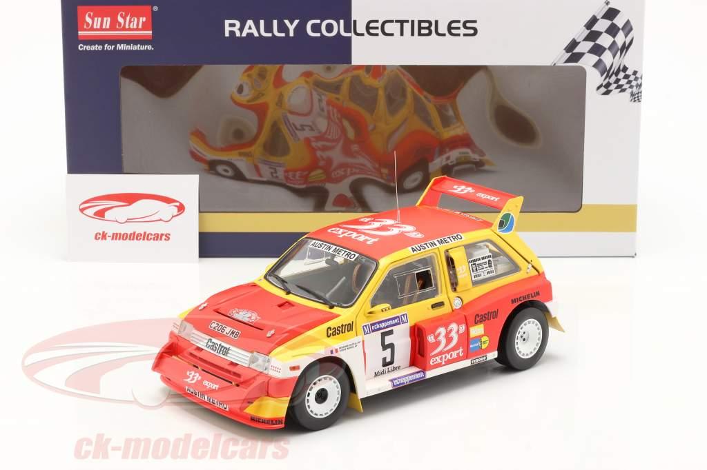 MG Metro 6R4 #5 gagnant Rallye Criterium de Cevennes 1986 1:18 SunStar