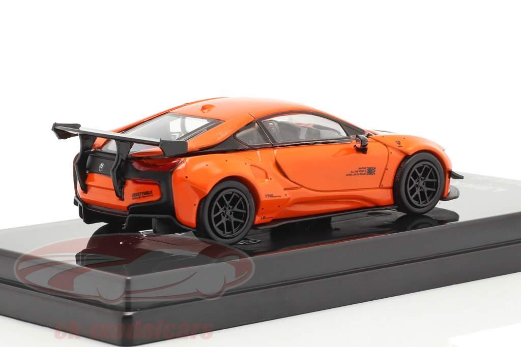 BMW i8 Liberty Walk Byggeår 2018 orange 1:64 Paragon Models