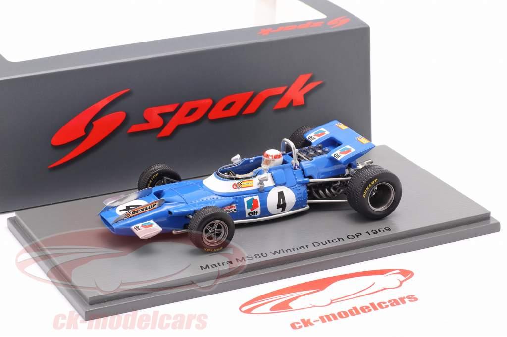 J. Stewart Matra MS80 #4 Gagnant néerlandais GP formule 1 Champion du monde 1969 1:43 Spark