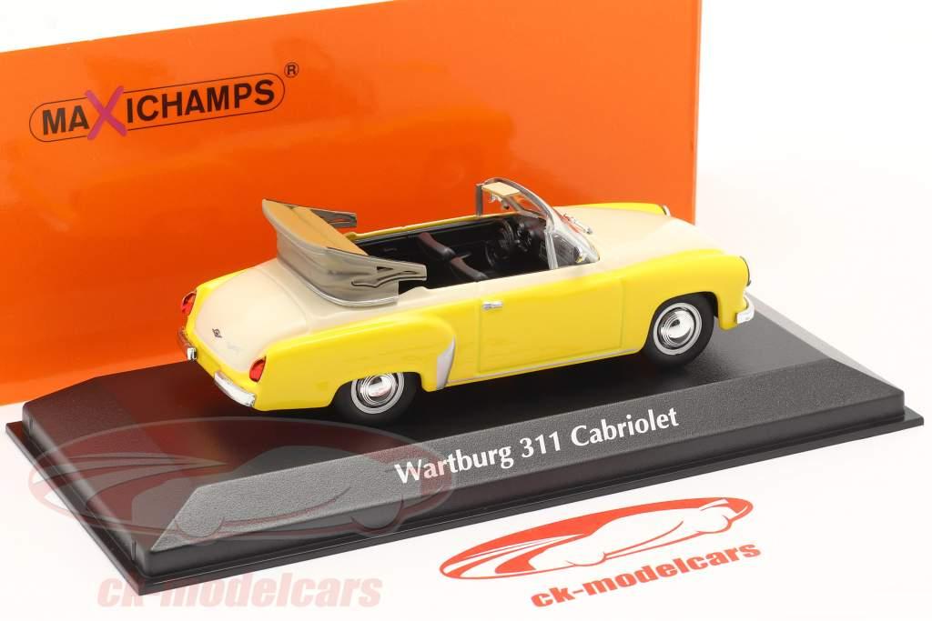 Wartburg 311 Cabriolet jaar 1958 geel / wit 1:43 Minichamps