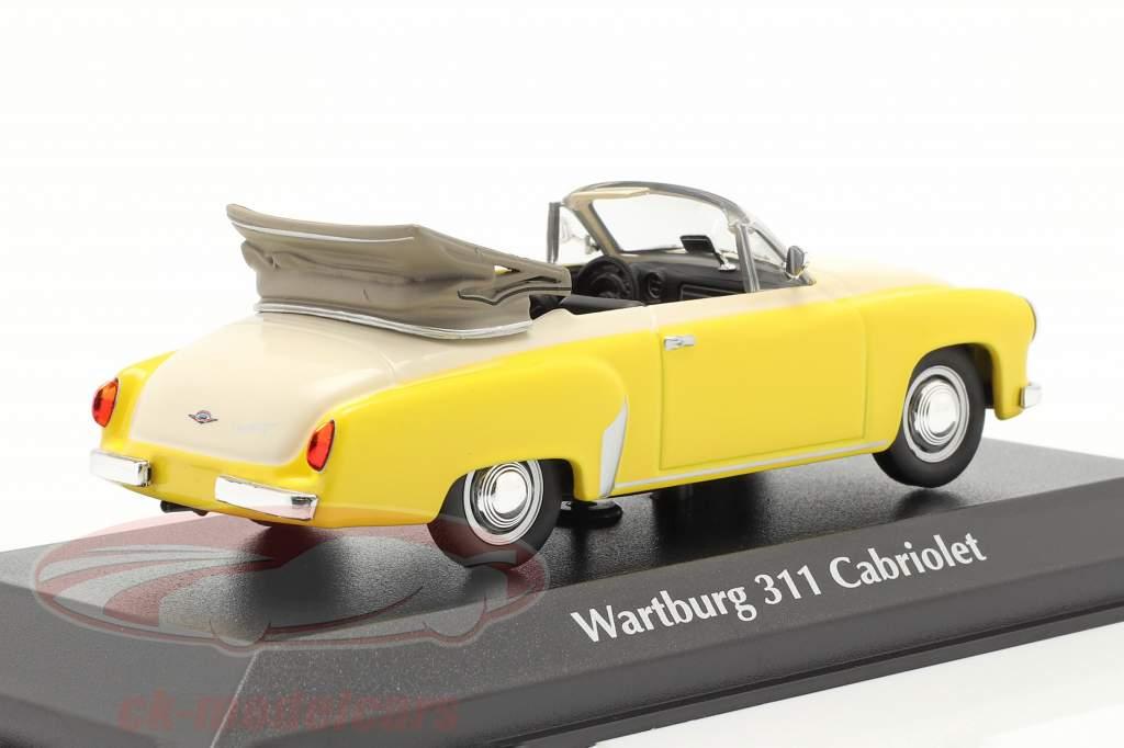 Wartburg 311 Cabriolet ano 1958 amarelo / branco 1:43 Minichamps
