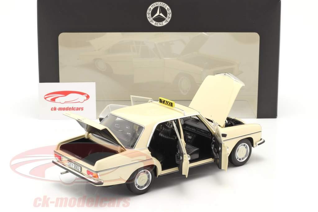 Mercedes-Benz 200-250 E (W114/115) Táxi ano 1968 luz marfim 1:18 Norev