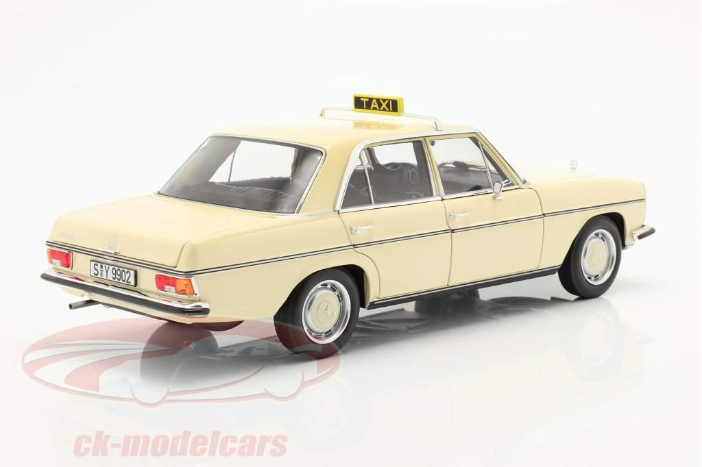 Mercedes-Benz 200-250 E (W114/115) taxa år 1968 lys elfenben 1:18 Norev