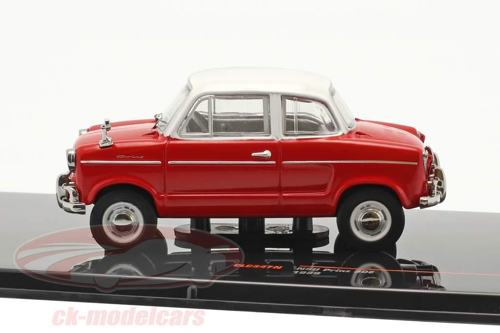 NSU Prinz 30E år 1959 rød / hvid 1:43 Ixo